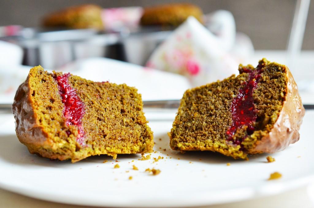 Zoom gâteaux et intérieur framboise