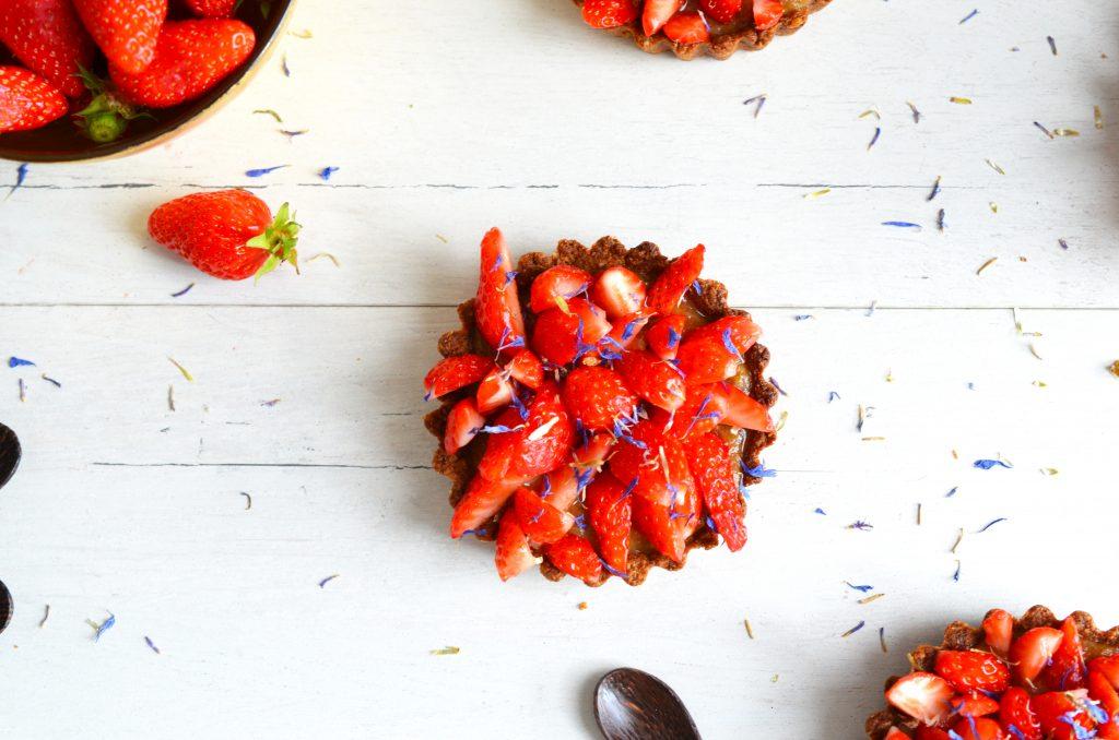 Tartelettes rhubarbe et fraises