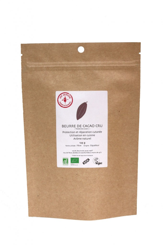 Cacao cru beurre Bio 125 g Sol Semilla super aliment